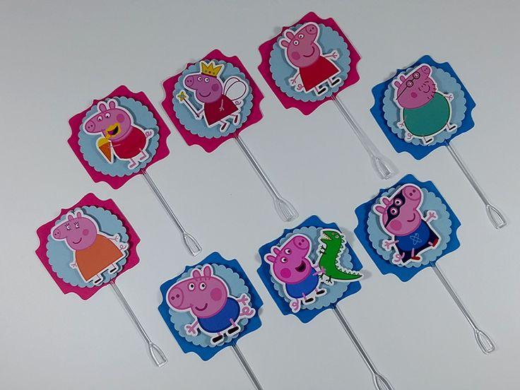 A família Pig em lindos toppers para decorar a sua festinha. Festa Peppa Pig.