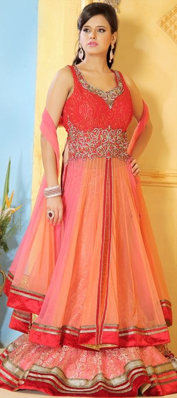146834, Long Lehenga Choli, Net, Zardozi, Resham, Stone, Lace, Pink and Majenta…