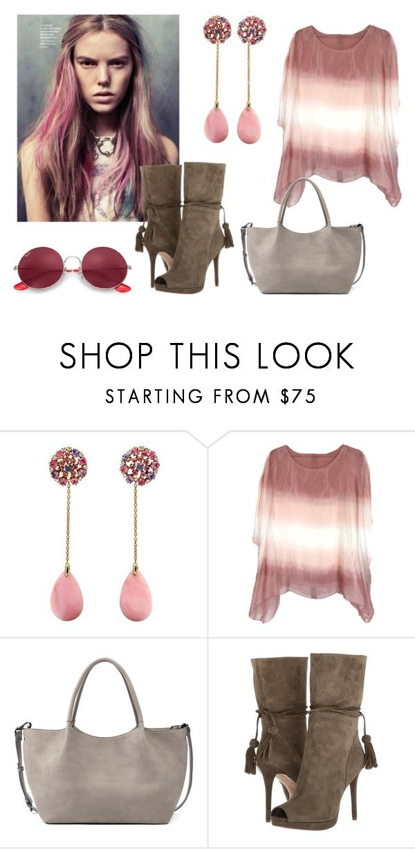 """Clarity & Edge"" by rhymingscapes on Polyvore featuring Sole Society, MICHAEL Michael Kors, Ray-Ban and breastcancerawareness"