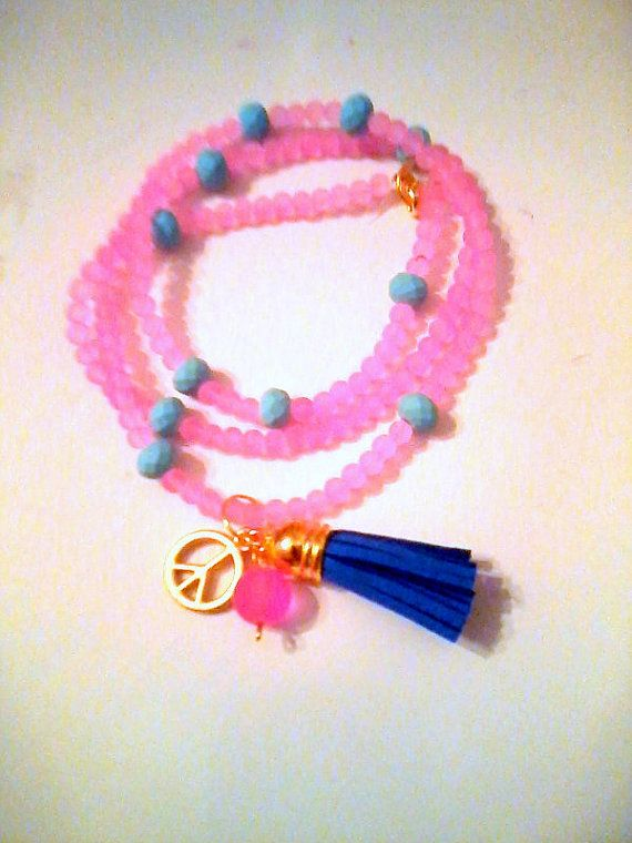 New Long pink tone charm necklace by KaterinakiJewelry on Etsy, $8.80