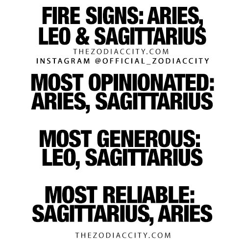 Zodiac Fire Signs: Aries, Leo & Sagittarius! TheZodiacCity.com – For more zodiac fun facts, click here.