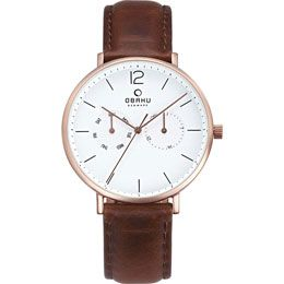 OBAKU Flod - mahogany // rose gold stainless steel men's multifunction watch with a brown leather strap