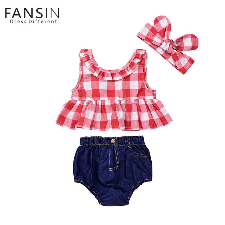 2018 Summer Kids Clothes Red Plaid Skirted T-shirt Tops+Denim Short Bloomers Headband Baby Girl Clothes Toddler Newborn Outfit