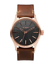 Analog Sentry 38 Rose-Goldtone Leather Strap Watch