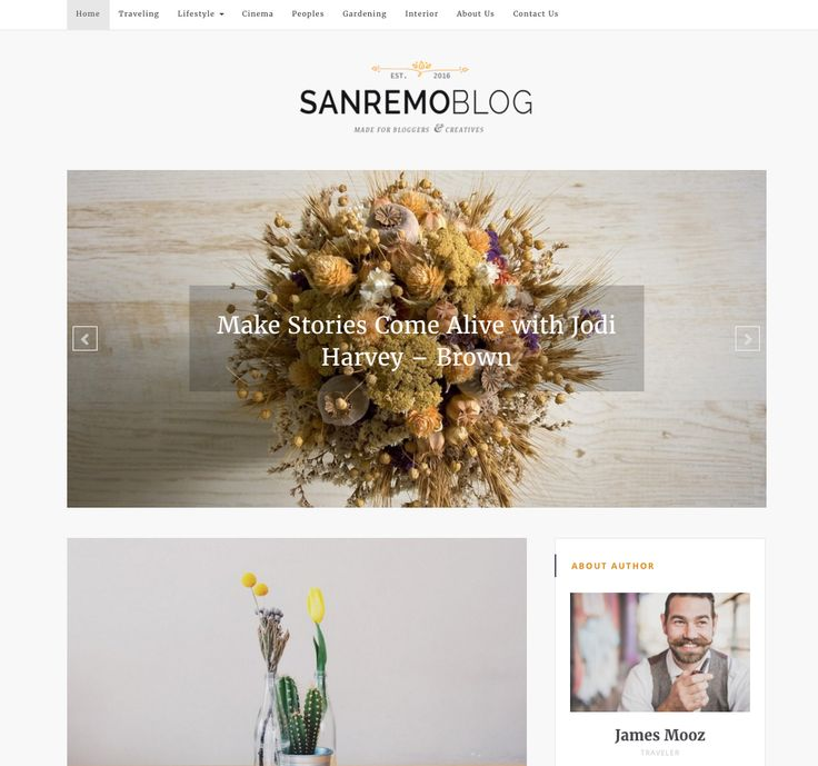 SanremoBlog Free WordPress theme. More info: http://curatable.net/20-free-wordpress-themes-i-would-actually-use-to-start-a-new-blog-in-2016/