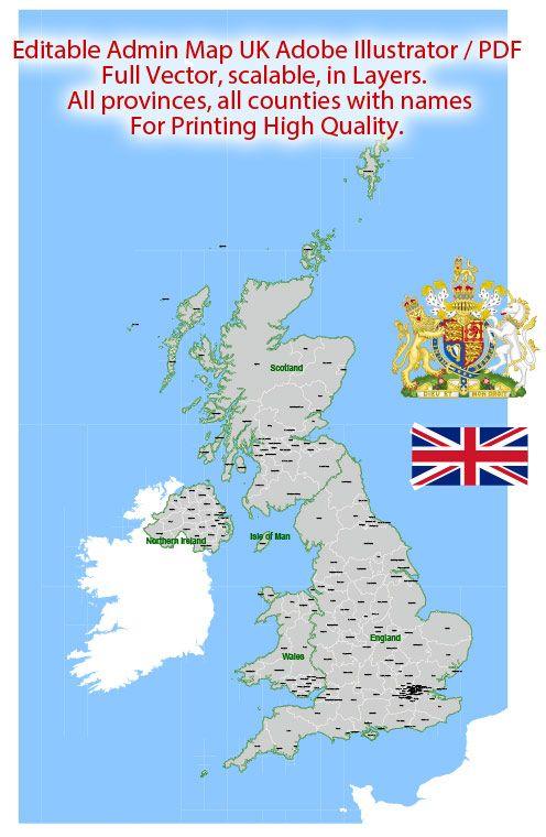 Map Of Uk For Printing.Uk Great Britain Map Administrative 01 Vector Adobe Illustrator