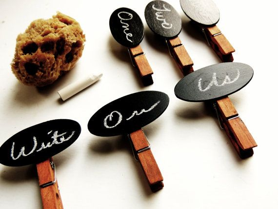 Chalkboard Decorative Clothespins Wood Wedding Placecard Escort Card Holder Rustic Place Card Clothespin Peg Candy Bar Sign Label Tag