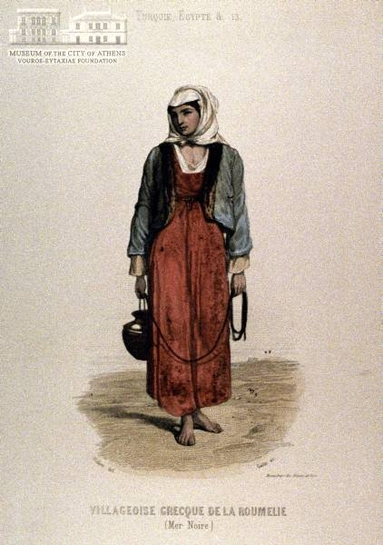 DIDIER (painter) & GAITE (engraver) Female peasants attire from Roumeli coloured copper engraving, 20 x 10 cm