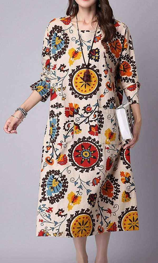 Women loose fit over plus size retro ethnic flower dress midi tunic pregnant #Unbranded #dress #Casual