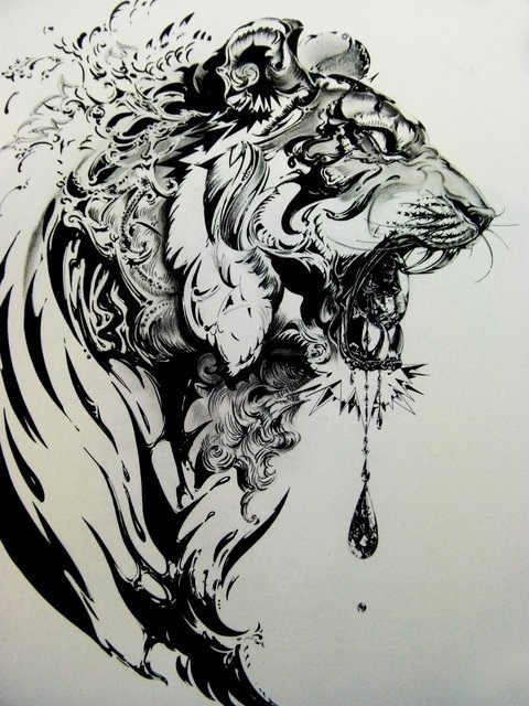 Amazing black and white tiger sketch. Wow.