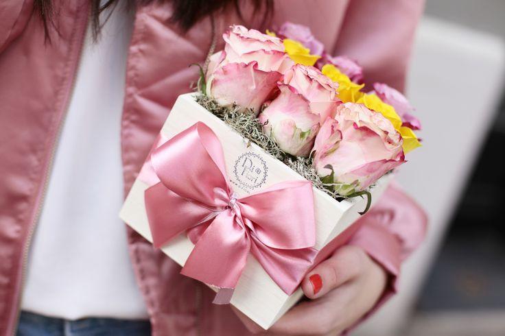 Roses in box by DIFIORI