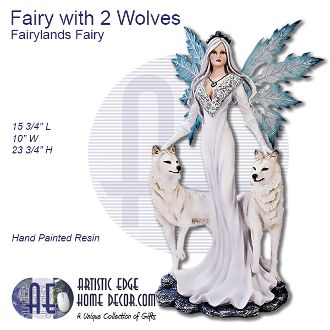 Fairy in White Winter Dress with 2 Wolves by Fairyland Fairy
