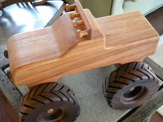 I make this truck from cherry and walnut -- itll last forever.The inspiration for it came from a TV commercial advertising a local Monster Truck event. The commercial was intended to attract kids and it occured to me that kids love these trucks. Its about 10 inches long, 7 inches