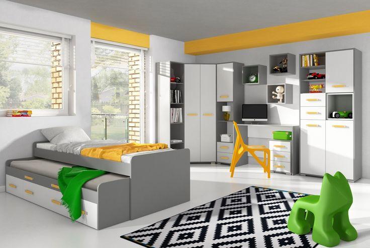 Nowoczesne meble do pokoju młodzieżowego. Podwójne łóżko z pewnością sprawdzi się w pokoju dla rodzeństwa. Stonowane kolory bieli i szarości to idealna propozycja dla nastolatków. Charakter mebli podkreślają uchwyty w żywym kolorze.