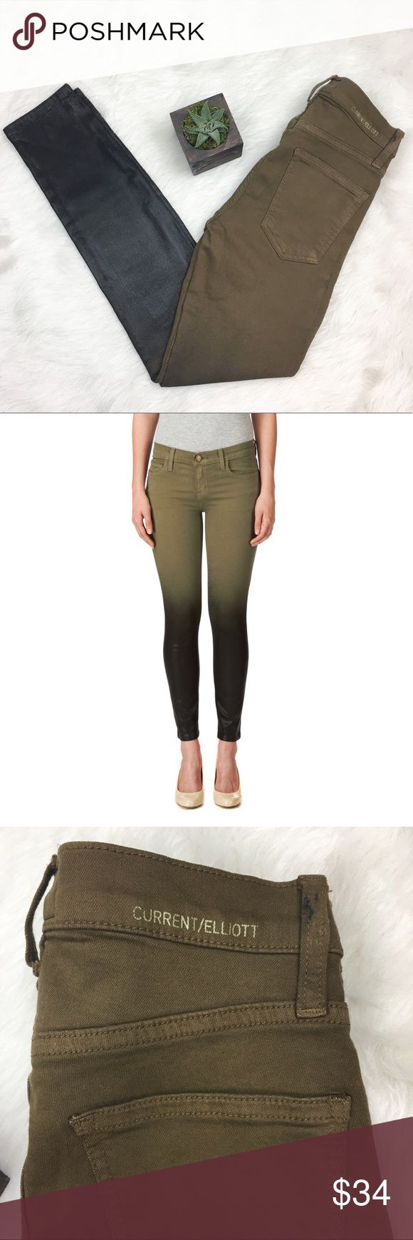 """Current/Elliot Stiletto Ombré Coated Skinny Jeans Current/Elliott """"The Stiletto"""" ombré olive green & blackish brown skinny jeans. Size 23. These have stretch to them. They would fit size 00. See measurement picture above for flat lay measurement. Inseam is 27'. GUC with some of the coated bottom rubbing off on the top part due to being folded in storage. This doesn't seem to take away from jeans at all. ❌No trades ❌ Modeling ❌No PayPal or off Posh transactions ❤️ I Bundles ❤️Reasonable…"""