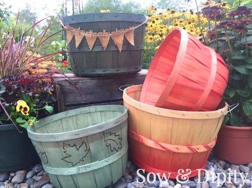 These DIY dyed bushel baskets are perfect for all your fall decorating! So easy to do and they are perfect for the season.