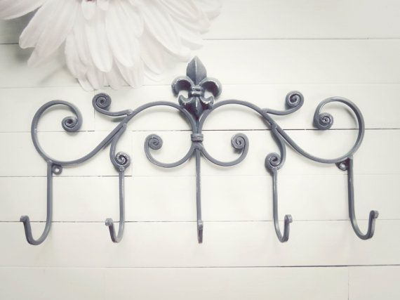 Fleur De Lis Decor Metal Wall Hanger Hook Teal Home Towel Rack Coat Shabby Chic French Country