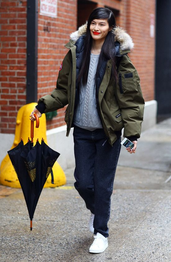 #SuiHe with her Canada Goose parka. weather appropriate #offduty dressing. NYC.
