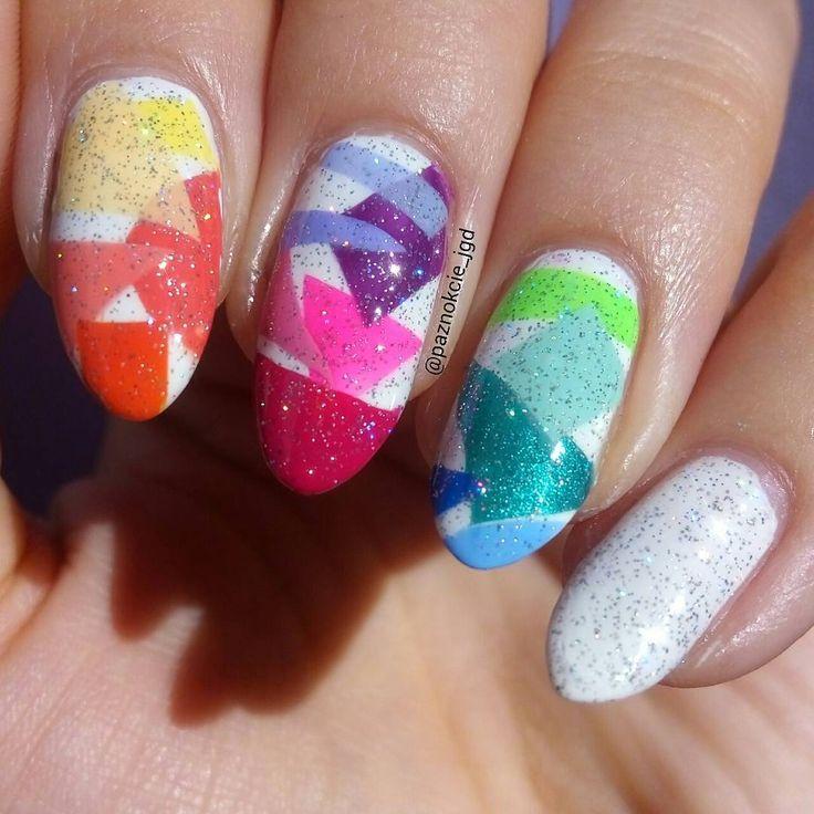 Rainbow nail art geometric