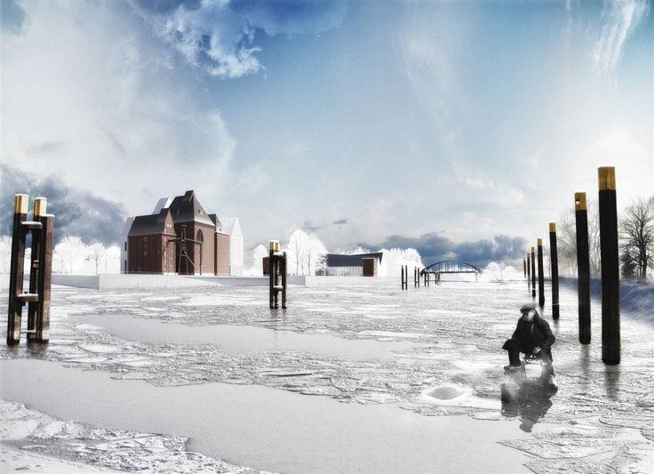 #europan #europan12 #winner #adaptable #city #reuse #landscape #territory #wittemberge #germany #rendering #refunctionalisation #urban #form #water#architecture #winter #fishing