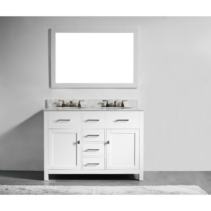 This bathroom vanity set by Innoci-USA adds a touch of sophistication to your bathroom with its modern design. Featuring soft-closing drawers and door hinges, ample storage space and functional drawers, Italian Carrera white marble countertop, undermount ceramic sink, and a solid wood construction make this vanity set a perfect selection. Unlike many vanities on the market, their vanities have a frame that is made of 100% solid Oak Wood. Matching mirror and backsplash are also included…