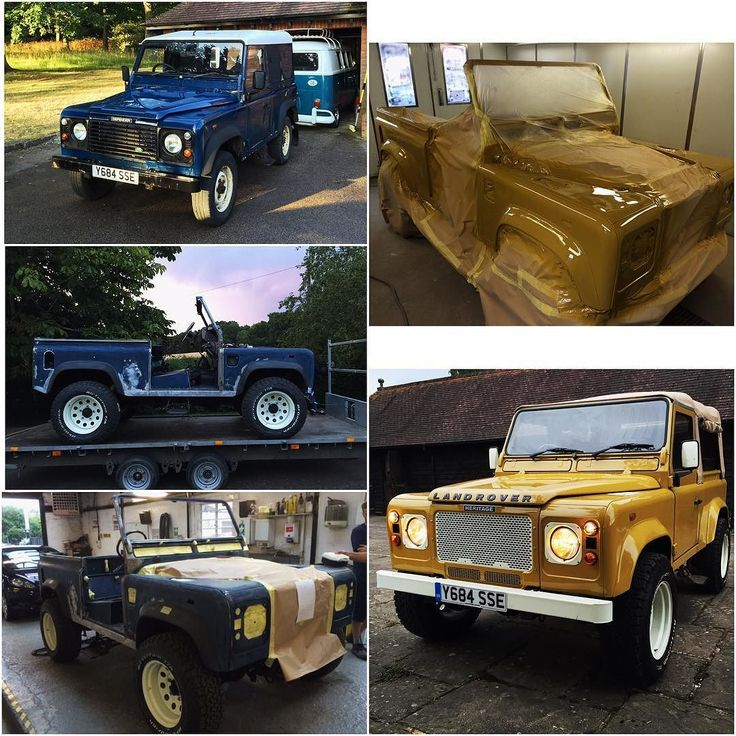 The transformation of our Land Rover Defender TD5 from a blue hard top to a soft top in Bahama Gold Follow: @period_correct_uk for more #landroverdefender #landrover #defender #td5 #defender90 #classic #transformation #restoration #bahamagold #retro #carsofinstagram #cars #instalike #instagood #like4like #likeforlike #revival @landroverdefender @landroverphotoalbum @land_rover_series_pics @landrover @land_rover_defender @defender_life_style @defenderwatch @defenderwatch by period_correct_uk…