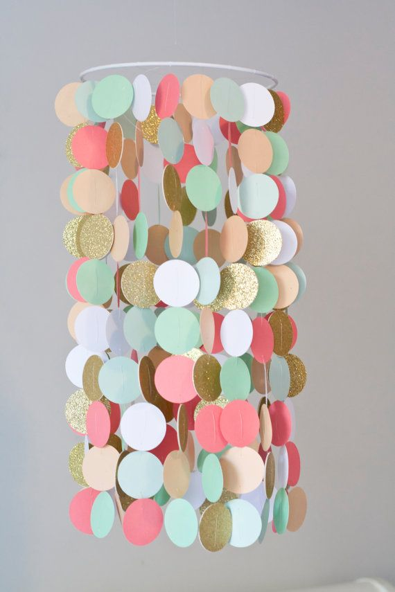Coral, Peach, Mint, and Gold Crib Mobile, Modern circle mobile, geometric crib