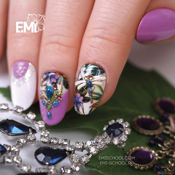 Tropical fantasy on nails! To repeat this nail design, please take #Naildress Tropic, E.MiLac Passion Flower #092, Charmicon Stickers Jewelry #1 and Jewelry #4, luxurious Gemty Gel Sapphire. All types of Naildress are available by following this link http://emischool.com/catalog/#naildress_ and at the representatives in your city!    Тропическая фантазия на ноготках!  Чтобы повторить этот дизайн, возьмите #Naildress «Тропик», E.MiLac 092 «Цветок страсти», #Charmicon «Украшение No 1» и «У