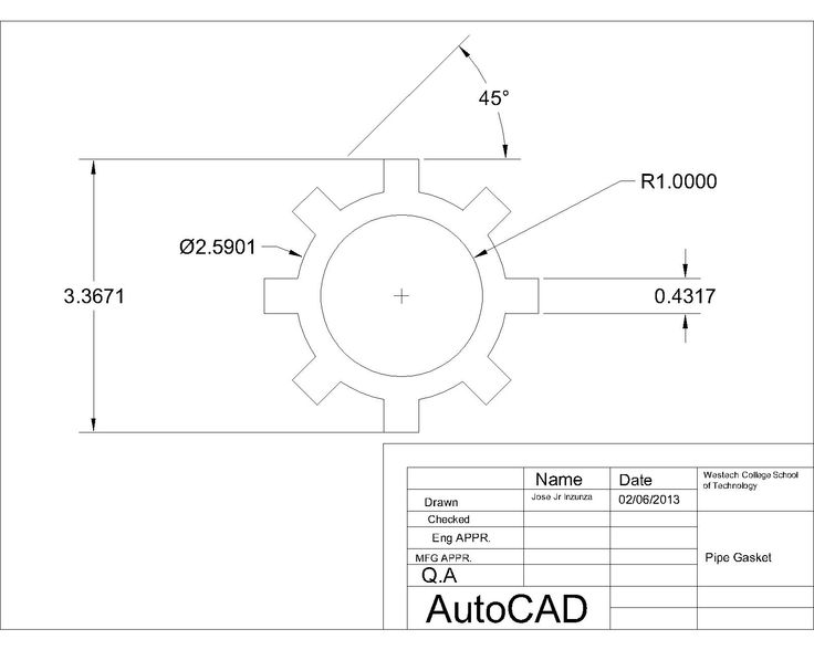 Gasket layout with dimensions