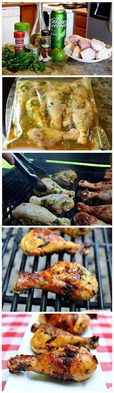 Grilled Beer Chicken Recipe - This Is Seriously SO Good. The Chicken Is Extremely Tender, Perfect Grill Marks. Easy Summer BBQ Recpe!