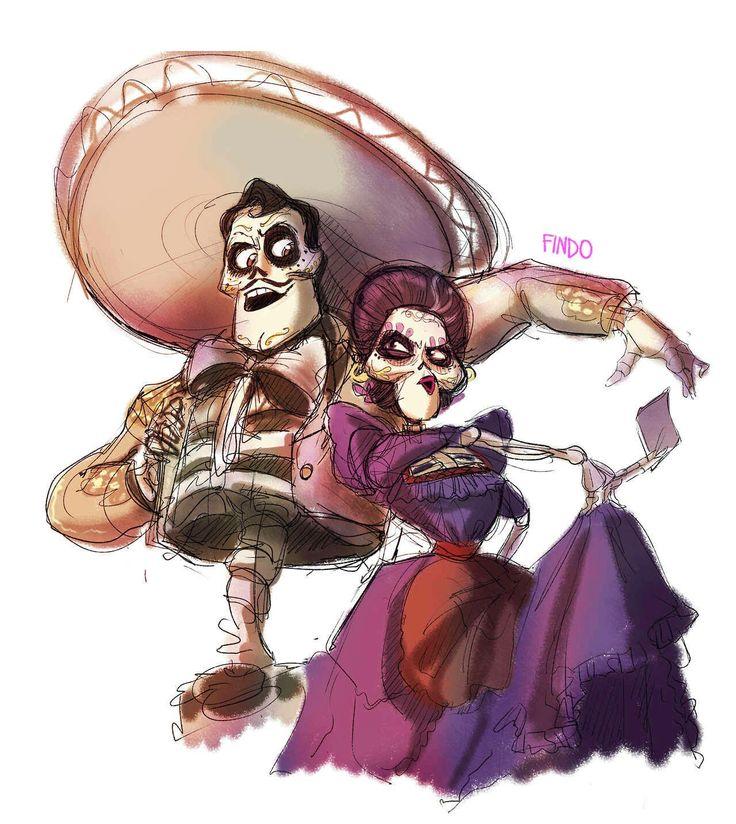 Mamá Imelda y Ernesto de la Cruz de coco Pixar