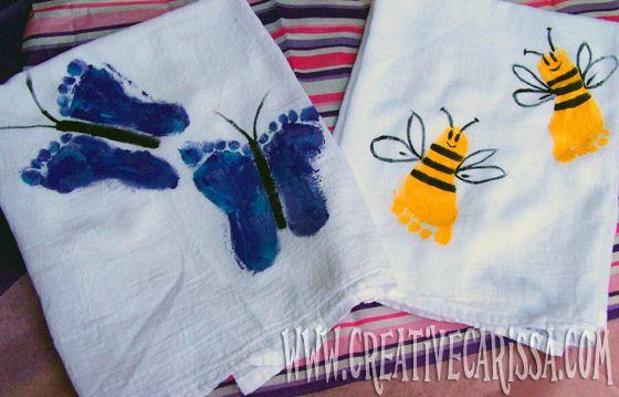 Bumblebee & Butterfly footprint towels