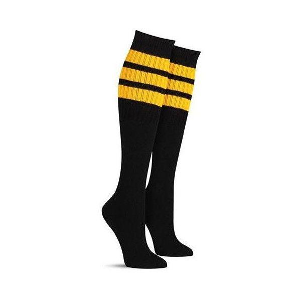 Tube Sock Knee High Black w/ Yellow Stripes ($8) ❤ liked on Polyvore featuring intimates, hosiery, socks, stripe socks, bumble bee socks, skate socks, knee high socks and knee length socks