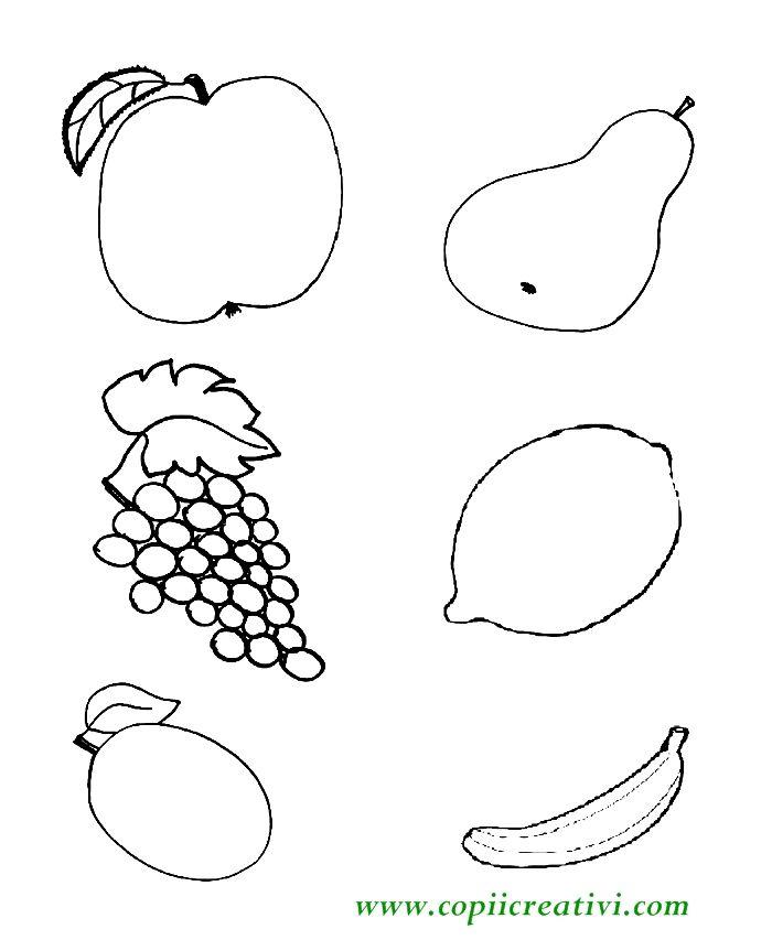 Planse de colorat pentru copii mici-  para, strugure , lamaie , banana, pruna