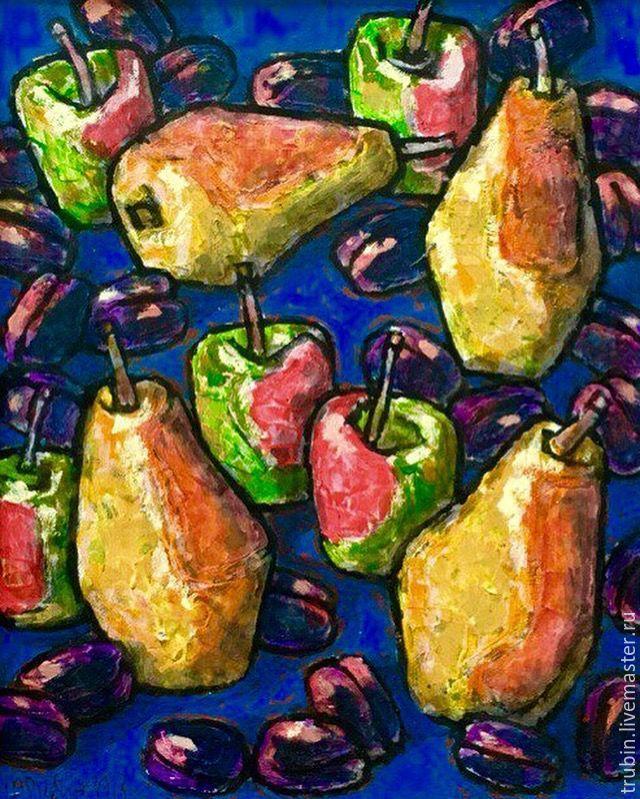 Купить Натюрморт с фруктами,работа маслом - комбинированный, синий цвет, желтый…