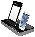 Multifunktion Docking Station Ladegerät Adapter Tischladestation / Stand-Ladegerät / Lautsprecher mit iPhone 30pin Blitz auf USB Mikro USB für iPod touch4 iPod touch5 iPhone4/4S iPhone5 5S 5C iPad2/iPad3/iPad4/iPad mini Air Samsung (Silber)