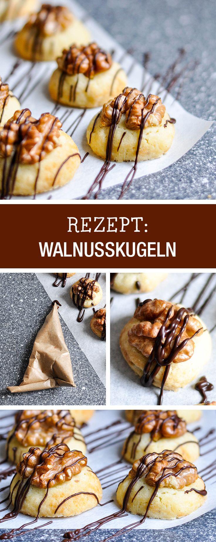 Rezeptidee für die Weihnachtsbäckerei: Walnusskugeln mit Zartbitterschokolade / christmas bakery: recipe for walnut cookies via DaWanda.com