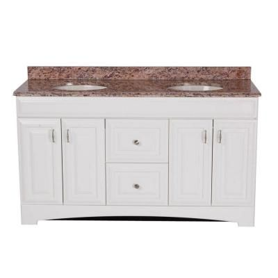St. Paul 60 in. Providence Vanity in White with 61 in. Stone Effects Vanity Top in Santa Cecilia-PRSD60STP2COM-WH at The Home Depot