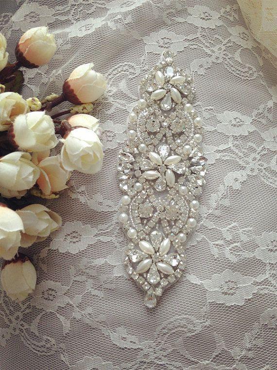 Nupciales cristalinos Sash apliques apliques de novia boda