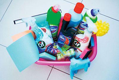 Plejáda čisticích prostředků, které využijeme při velkém vánočním úklidu v celém bytě.