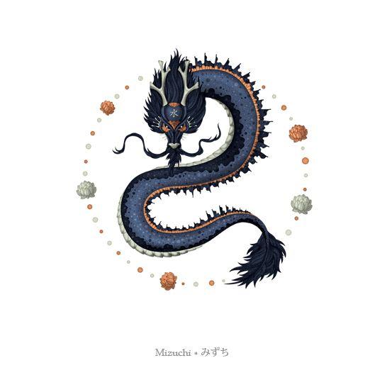 """""""Mizuchi é uma das divindades da água, no Japão. Quando se fala em divindades no contexto do Xintoísmo e sincretismo japonês, não estamos falando de deuses como no ocidente. Seres sobrenaturais que controlam montanhas, elementos, certas regiões do Japão, os KAMI, são entidades divinas, mas não necessariamente benignas. Ele é um dragão, dos rios e lagos, e é lembrado noss contos por sua fúria."""""""