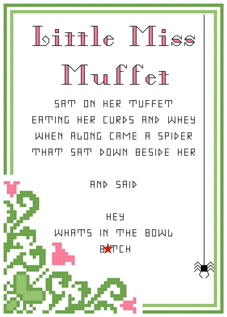 Andrew Dice Clay - Little Miss Muffet 5X7 dirty nursery rhyme PDF counted cross stitch pattern. $3.00, via Etsy.