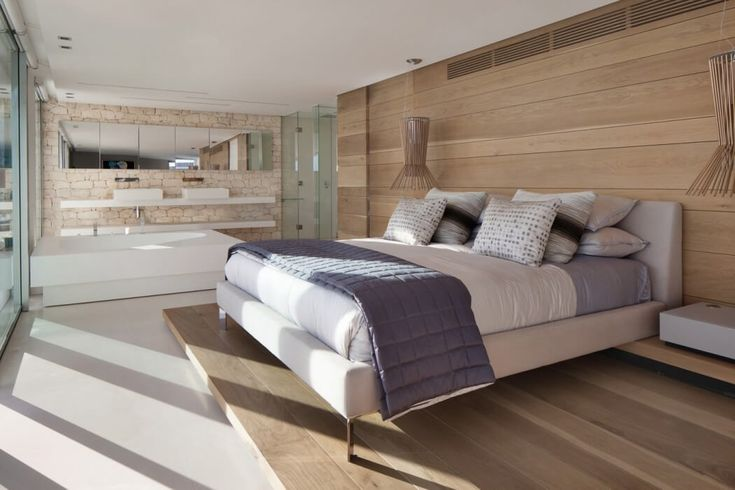 this bed solution for master bedroom. open bath plan