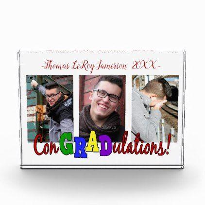 Tri-Photo Congratulations Graduate Photo Block - graduation gifts giftideas idea party celebration