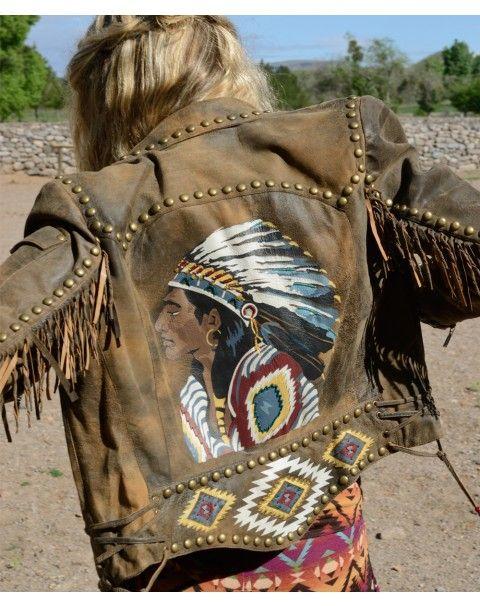 Chief Eagle Head Biker Jacket - Jackets - Apparel Collection