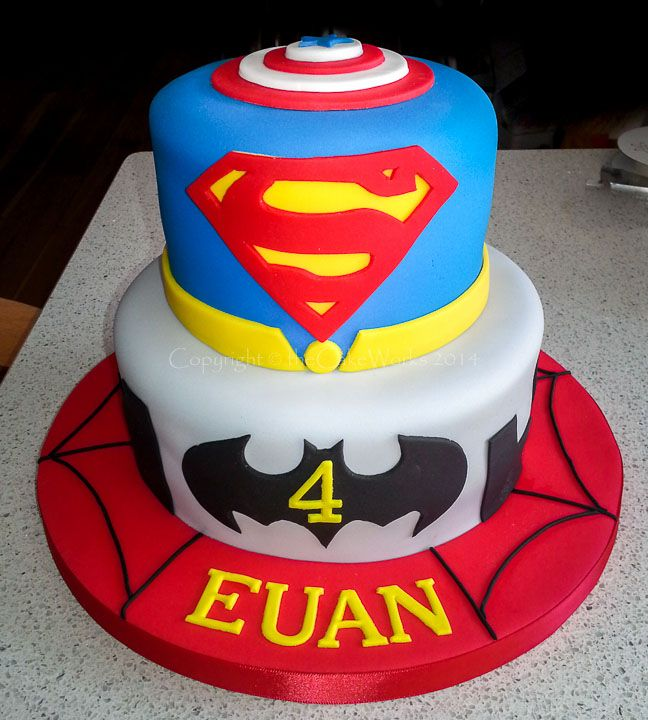 Superhero cake / Superhero birthday cake featuring Batman, Superman, Spiderman and Captain America