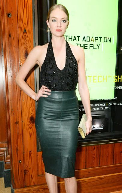 Celebrities In Leather: Lindsay Ellingson wears a long green ...