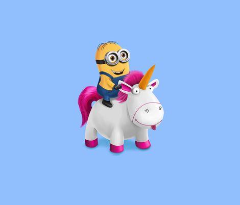 Minion Riding Unicorn Blue Fabric By Samalah On