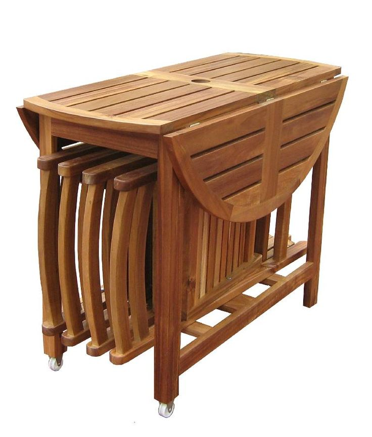 The Sides Of The Table Fold Down And The Four Folding Chairs Easily Stow  Underneath For Storage When ...