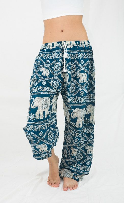Teal Elephant Pants Turquoise  Elepants Thai Harem Pants Yoga Pants Elastic Drawstring Waist Super Comfy Comfortable Travel pants Plus size